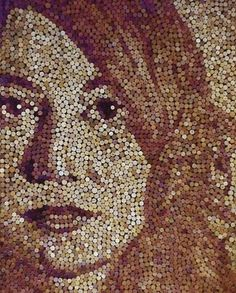 Okay - all you crazy wine drinkers, here's your next cork project: mosaic portrait made from a lot of wine corks.