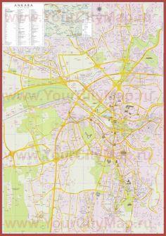 Туристическая карта Анкары с отелями и достопримечательностями