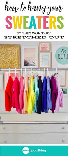 "I'm sharing the best way I've found to hang my sweaters in my closet. It keeps them from getting stretched out, or from developing those ugly ""hanger bumps"" on the shoulder. #tipsandtricks #lifehacks #clothinghacks #OGT"