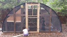 This one is easy! We had an old trampoline frame in the back yard. We just reconfigured the pieces into the frame and added a few cheap items to make the coolest chicken coop ever. Our 10 chickens and 13 ducks have lots of room especially. Portable Chicken Coop, Chicken Coop Plans, Building A Chicken Coop, Diy Chicken Coop, Chicken Ideas, Recycled Trampoline, Old Trampoline, Backyard Trampoline, Backyard Toys