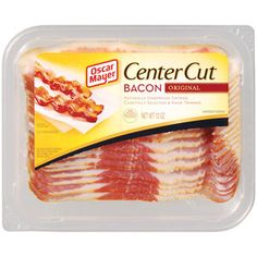 Oscar Meyer Center Cut Bacon: heat oven to lay strips on a wire rack over baking sheet and bake mins Pork Bacon, Bacon Sausage, Smoked Bacon, Turkey Bacon, Oscar Mayer Bacon, Bacon Breakfast, Breakfast Ideas, Burger Toppings, Center Cut