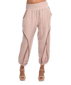 Light Pink Linen Harem Pants #zulily #zulilyfinds
