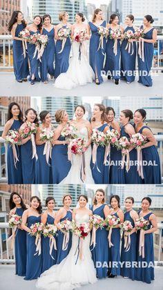 Mismatched Chiffon Bridesmaid Dress, Floor-Length Cheap A-Line Bridesmaid Dress, D1034 #bridesmaid #bridesmaids