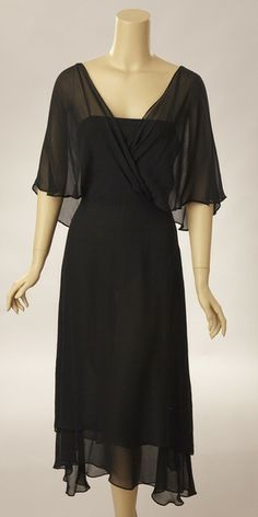 c7a9f910390 1980s Albert Nipon Black Chiffon Disco Dress