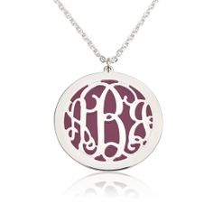 Silver Monogram Necklace With Magenta Background
