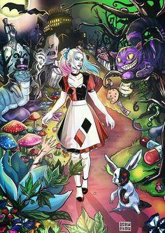 Harley Quinn Alice In Wonderland Harley Quinn Comic, Harley Quinn Cosplay, Joker And Harley Quinn, Harley Quinn Tattoo, Harley Quinn Drawing, Personnages Looney Tunes, Heros Film, Harely Quinn, Comic Art