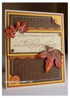 Thanksgiving card with bold falling Leaves (sewn around the edges and layers) Fall Cards, Holiday Cards, Christmas Cards, Scrapbook Cards, Scrapbooking, Leaf Cards, Thanksgiving Cards, Heartfelt Creations, Card Tags