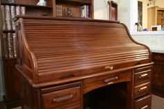 A beautiful Walnut 1920's Roll Top Desk.  www.thedeskcentre.co.uk