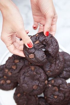 Must try the recipe for these extra chocolatey Mexican hot chocolate cookies.