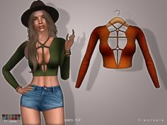 Set66 GWEN top by Cleotopia at TSR via Sims 4 Updates