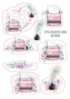Printable stickers / designs with pastel pink typewriters and ink pot / quill stickers for writers Мои закладки