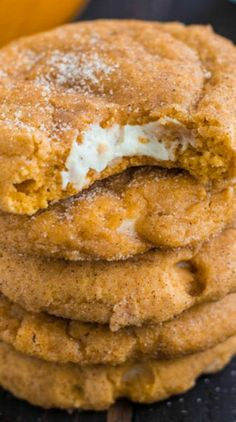 Pumpkin Cheesecake Snickerdoodles Recipe ~ Delicious soft and puffy pumpkin snickerdoodles with a surprise cream cheese center.