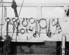 Ships Antique Torture Irons On Display 8x10 Reprint Of Old Photo
