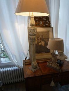 Pied de lampe en bois sculpté Louis XVI