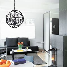 Benita 5-light Antique Black Metal Strap Globe Chandelier   Overstock.com Shopping - The Best Deals on Chandeliers & Pendants