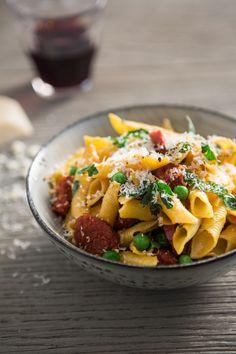 Garganelli pasta with chorizo and peas by Luke Holder