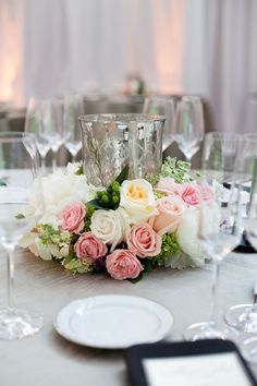 Mercury glass, and pink and white flowers