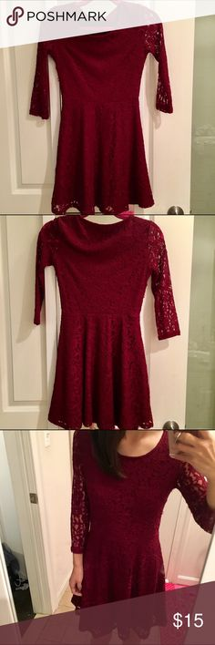 Forever 21: Holiday Red lace dress! Red is just not my color. Worn once for xmas concert and washed. It's a dark red! Forever 21 Dresses Long Sleeve