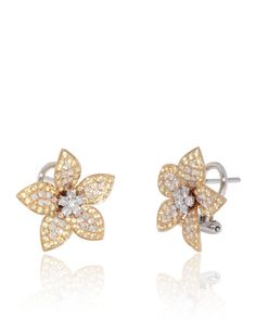 Flower Earrings with Yellow Sapphires (0.90 ct) on the border, White Diamonds (0.70 ct) in the centre and petals. 18K Yellow Gold Earrings