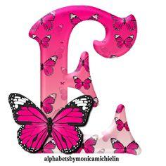 Alphabets by Monica Michielin: ALFABETO BORBOLETA ROSA, PINK BUTTERFLY ALPHABET Alphabet Wallpaper, Name Wallpaper, Butterfly Wallpaper, Pink Butterfly, Butterflies, Alphabet Letters Design, Alphabet Art, Animal Alphabet, Calligraphy Alphabet