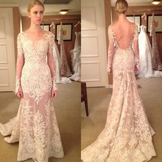 """Throwback Thursday! Style """"Malia"""" illusion long sleeves V-neck A-line gown featuring intricate floral lace embroidery and open V-back from Zuhair Murad Fall 2015 Wedding Collection! @zuhairmuradofficial #zuhairmurad #zuhairmuradbridal #couture #hautecouture #tbt #throwbackthursday #malia #longsleeves #vneck #openback #lace #beaded #embroidery #illusionneckline #wedding #weddinggown #weddingdress #weddinginspiration #bride #bridetobe #bridal #bridalgown #bridaldress #bridaldesigner…"""