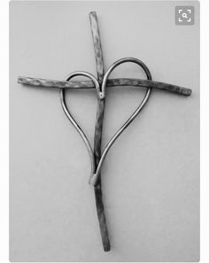 Heart & Soul Unique copper and Metal cross by GaryMoser metal art Heart & Soul. Unique copper and Metal cross Metal Projects, Welding Projects, Blacksmith Projects, Wire Crafts, Metal Crafts, Decoration St Valentin, Wire Jewelry, Jewelery, Cross Art