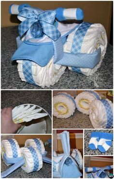Handmade Baby Shower Gift Ideas [Picture Instructions] - DIY Tricycle Diaper Cake Baby Gifts-Handmade Baby Shower Gift Ideas Instructions The Effective Pict - Cadeau Baby Shower, Idee Baby Shower, Fiesta Baby Shower, Baby Shower Diapers, Baby Boy Shower, Baby Shower Diaper Cakes, Cute Baby Gifts, Handmade Baby Gifts, Baby Shower Gifts For Boys