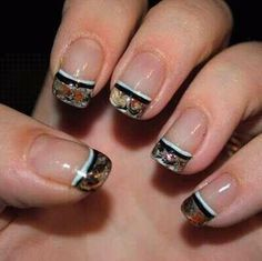 camo tipped nails.only with orange or black stripe.
