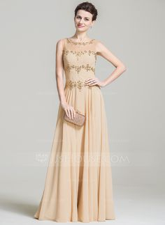 A-Line/Princess Scoop Neck Floor-Length Beading Sequins Zipper Up Cap Straps Sleeveless No 2016 Champagne Spring Summer Fall General Plus Chiffon Mother of the Bride Dress