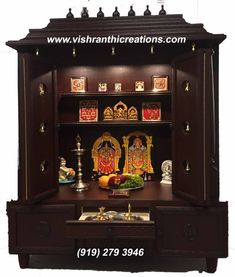 Pooja Mandir, Pooja Room, Tanjore Art, Tanjore Paintings made in USA Wooden Temple For Home, Temple Design For Home, Pooja Room Door Design, Home Room Design, House Design, Temple Room, Home Temple, Mandir Design, Wood Bed Design