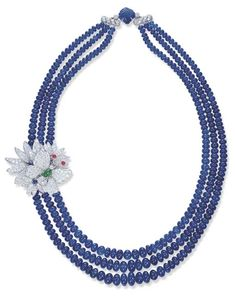 A THREE-STRAND SAPPHIRE BEAD AND DIAMOND NECKLACE, BY CARVIN FRENCH