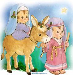 Het is reeds laat als ze in Bethlehem toekomen Christmas Nativity Scene, Christmas Scenes, A Christmas Story, Christmas Art, Vintage Christmas, Christmas Decorations, Christmas Pattern Background, Christmas Stationery, Baby Clip Art