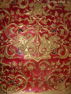 Beautiful gold/red printed and painted leather. Stunning colours and quality. Luxury interior design ideas. Fameed Collection, Book 6, 05