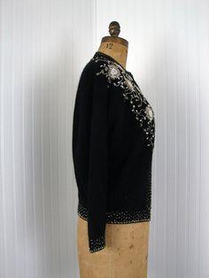 1950s Sweater Vintage 50s Beaded Sweater Black от jumblelaya