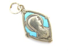 Vintage Blue Turquoise Virgin Mary - Our Lady of Lourdes Catholic Medal - Enamel Religious Charm by LuxMeaChristus