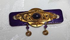 Vintage Brooch / Pin Art Deco Art Nouveau Style- Purple Enameled with a Purple Goldstone Centered - UPDATED INFO