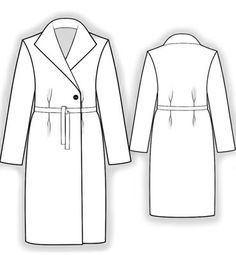 Coat With Wide Open Collar  - Sewing Pattern #5833 Made-to-measure sewing pattern from Lekala with free online download.