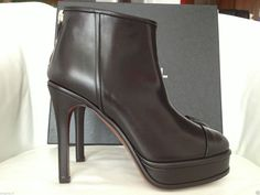 FALL 2014 CHANEL CC LOGO BLACK LEATHER CAPTOE ANKLE BOOTIES — Miami Lux Boutique Chanel Boots, Ankle Booties, Black Leather, Booty, Boutique, Logo, Fall, Heels, Miami