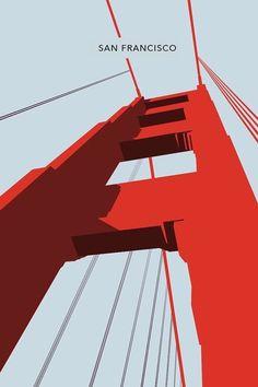 San Francisco - The Golden Gate Bridge Poster, Art Print, City Poster Graphic Arts Illustration Design Graphique, Art Graphique, Graphic Illustration, Illustration Simple, Funny Illustration, Graphic Design Posters, Graphic Design Inspiration, Graphic Art, Graphic Designers