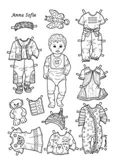 Karen`s Paper Dolls: Anne Sofie 1-2 Baby Paper Doll to Colour. Anne Sof...