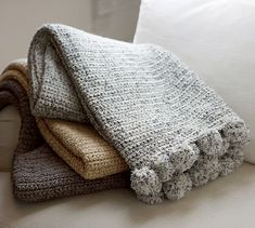 Shop pom pom hand crochet throw from Pottery Barn. Our furniture, home decor and accessories collections feature pom pom hand crochet throw in quality materials and classic styles. Crochet Pillow, Crochet Blanket Patterns, Hand Crochet, Knitting Patterns, Knit Crochet, Cable Knit Throw, Thrown Pottery, Bed Throws, Tunisian Crochet