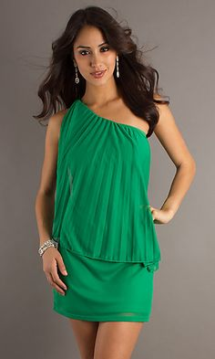 XO-2274SM11: Green Pleated One Shoulder Party Dress