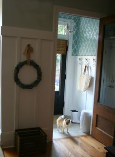Entryway redo with board & batten (I will do this) and stencil above.  This is a great idea for the laundry room or the girl's bathroom.