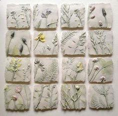 Field, sq framed I hope no offense is given, but this makes me want to do larger tiles with cannabis leaves from a variety of strains brilliant ideas of sue dunne wall hung work 2017 2018 Sue Dunne - workshop near Hexham, Northamptonshire This is plaster Clay Projects, Clay Crafts, Diy And Crafts, Arts And Crafts, Ceramic Wall Art, Ceramic Clay, Ceramic Pottery, Cerámica Ideas, Tile Ideas