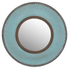 Bring artful appeal to your entryway or living room with this round wall mirror, showcasing a metal frame and lightly distressed teal finish.