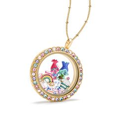 """Trolls-themed Large Gold """"Be Colorful"""" Scallop Twist Living Locket® look featuring the loveable and huggable DreamWorks Trolls Poppy and Branch Charms. Cupcakes and rainbows are always involved with these two along with a few sprinkles thrown in! (Ahem… Swarovski® Crystal sprinkles that is!)"""