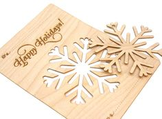 Wood Snowflake Ornament Christmas Card Laser Cut by PPointCreates