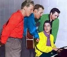 Million Dollar Quartet -  the name given to recordings made on Tuesday December 4, 1956 in the Sun Record Studios in Memphis, Tennessee. The recordings were of an impromptu jam session among Elvis Presley, Jerry Lee Lewis, Carl Perkins, and Johnny Cash. It was arguably the first supergroup.