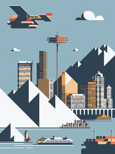 Seattle art print designed by Rick Murphy