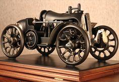 Carro steampunk feito com máquinas de costura